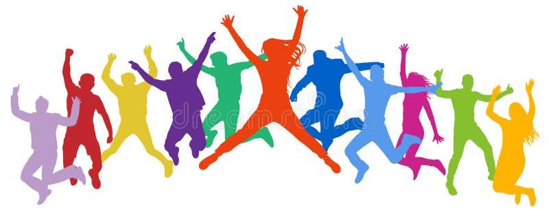 Povos de salto da multidão alegre Os amigos pulam, adolescentes novos do salto, trampolim ilustração do vetor