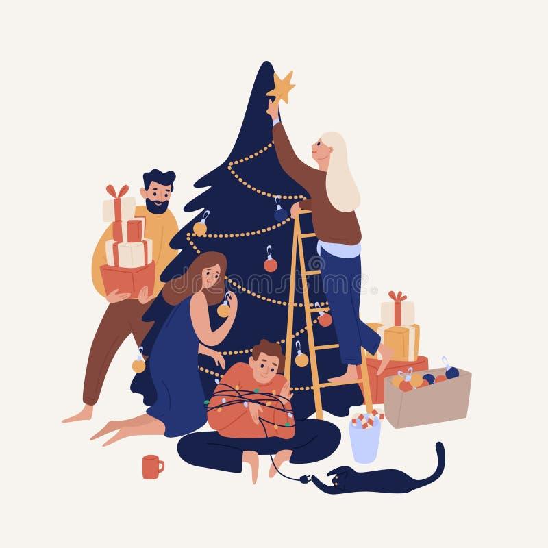 Povos de sorriso bonitos que decoram a árvore de Natal com quinquilharias e festões Família ou grupo feliz de amigos que preparam ilustração do vetor