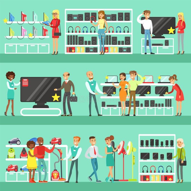 Povos de sorriso na compra da loja eletrônica para o equipamento doméstico que escolhe com desenhos animados de Help Set Of do as ilustração stock