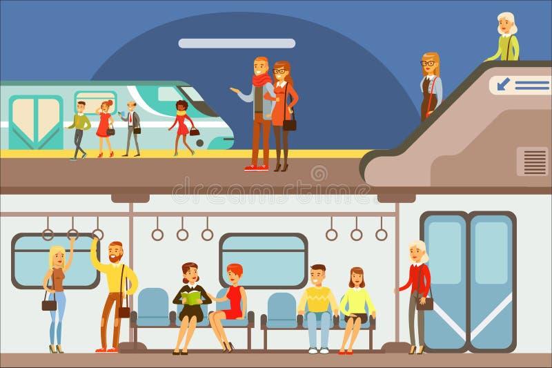 Povos de sorriso que tomam o grupo diferente do transporte, do metro, do plano e do navio de cenas dos desenhos animados com viaj ilustração do vetor