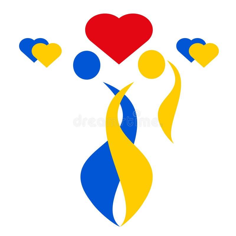 Povos de tiragem do vetor do amor do logotipo ilustração royalty free