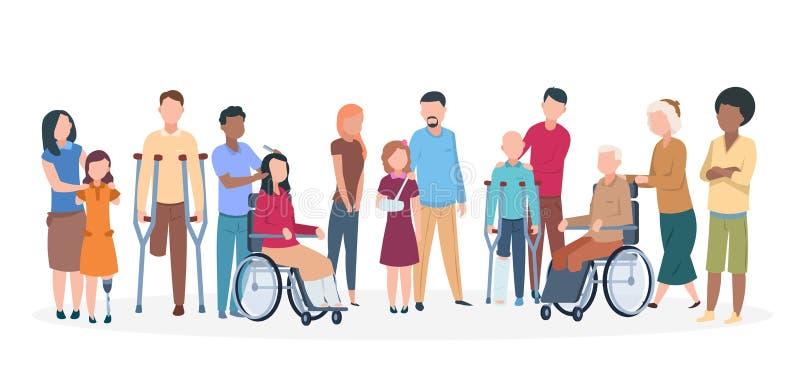 Povos deficientes Povos com a família amigável feliz das inabilidades Pessoas de ferimento da inutilização com assistentes ilustração stock