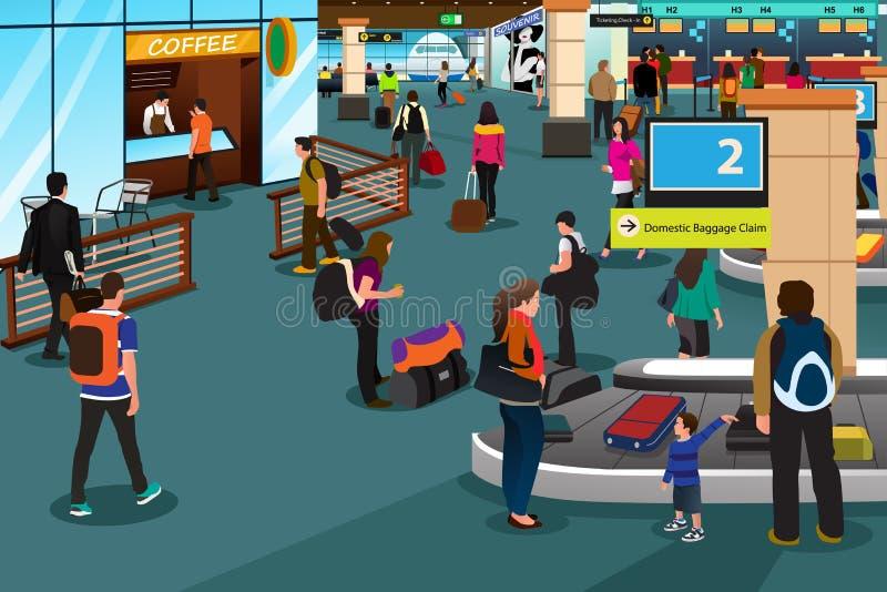 Povos dentro da cena do aeroporto ilustração do vetor