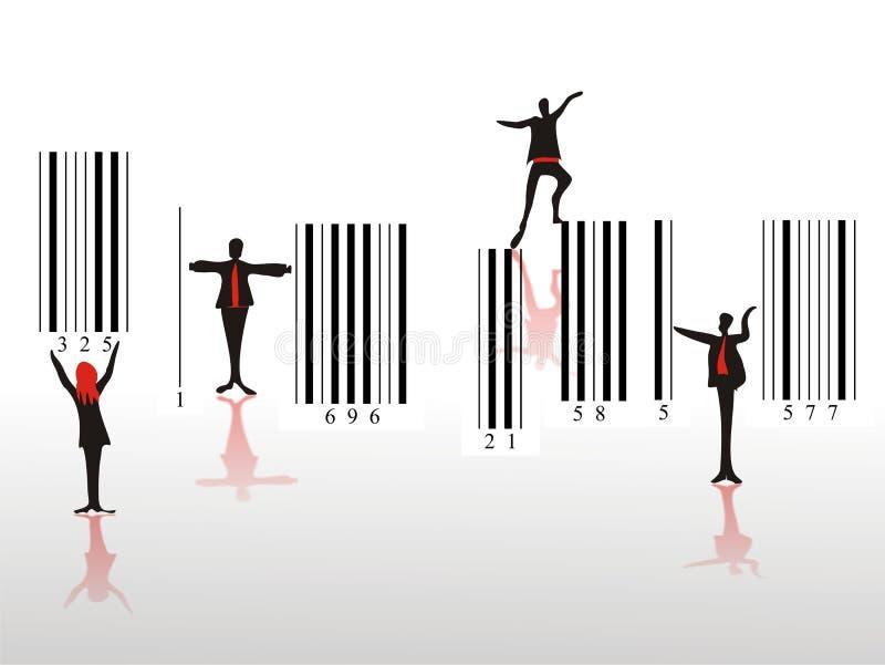 Povos diferentes no movimento no código de barras ilustração do vetor