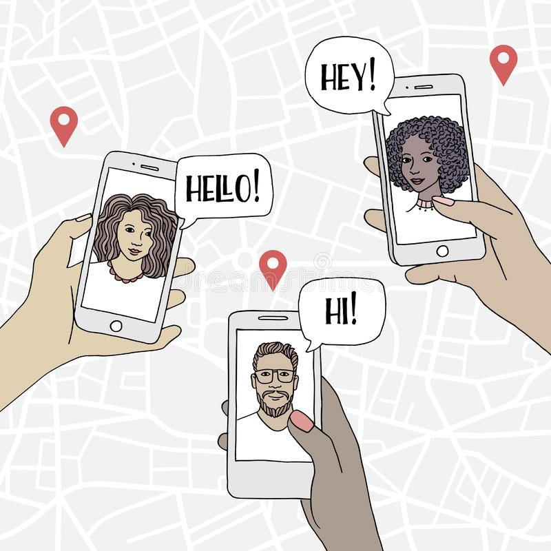 Povos diversos que conversam com os amigos através do smartphone ilustração stock