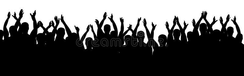 Povos do aplauso Cheering alegre da multidão Mãos acima Vetor da silhueta ilustração stock