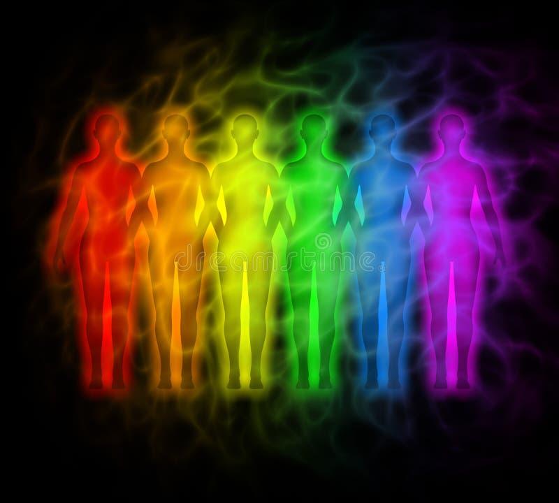 Povos do arco-íris - silhuetas do arco-íris da aura humana ilustração stock