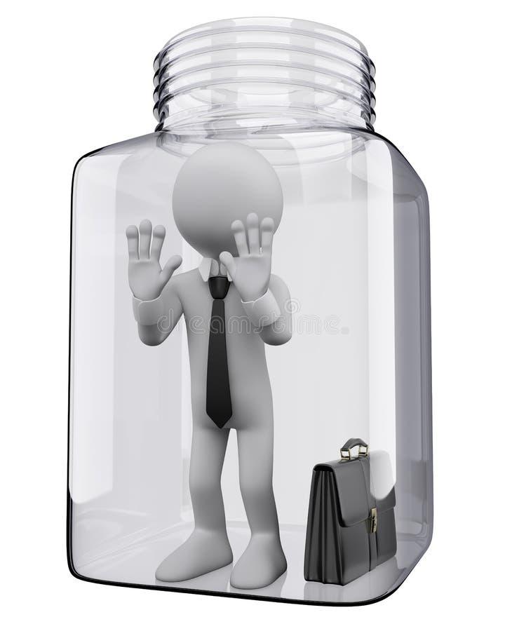 povos do branco 3D. Homem de negócios em um frasco de vidro ilustração do vetor
