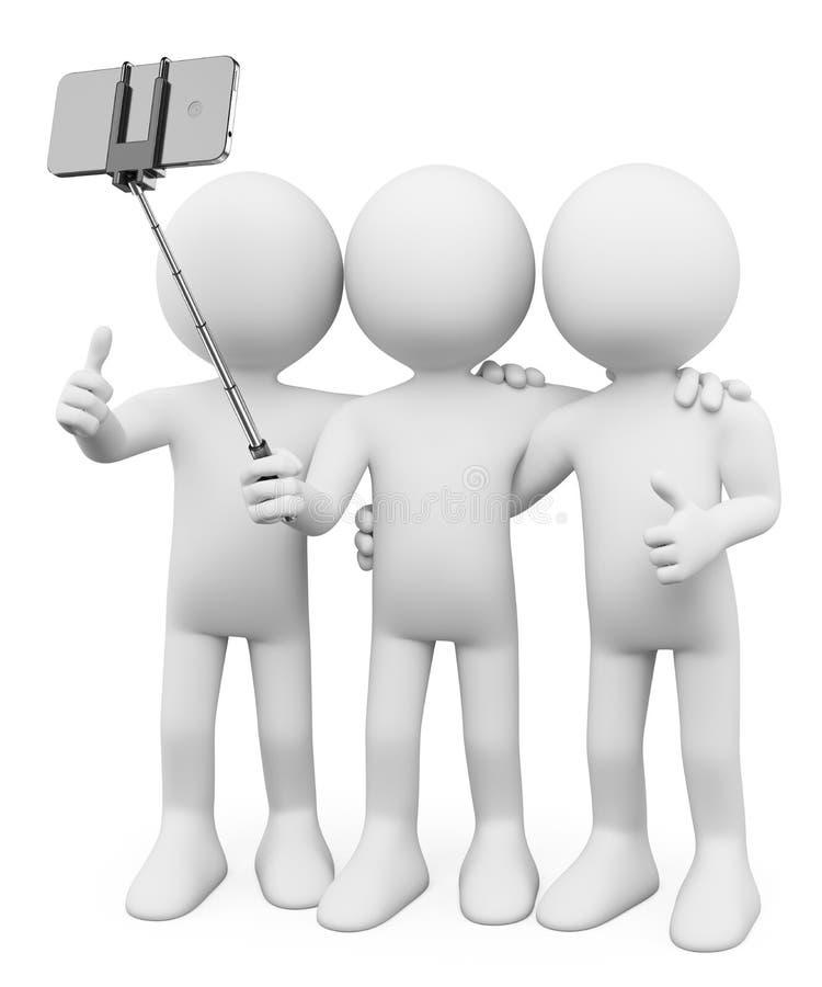 povos do branco 3d Amigos que tomam uma foto com uma vara do selfie ilustração stock