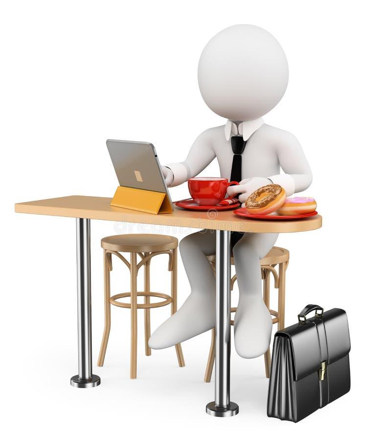 povos do branco 3d Café da manhã do homem de negócios com sua tabuleta ilustração do vetor