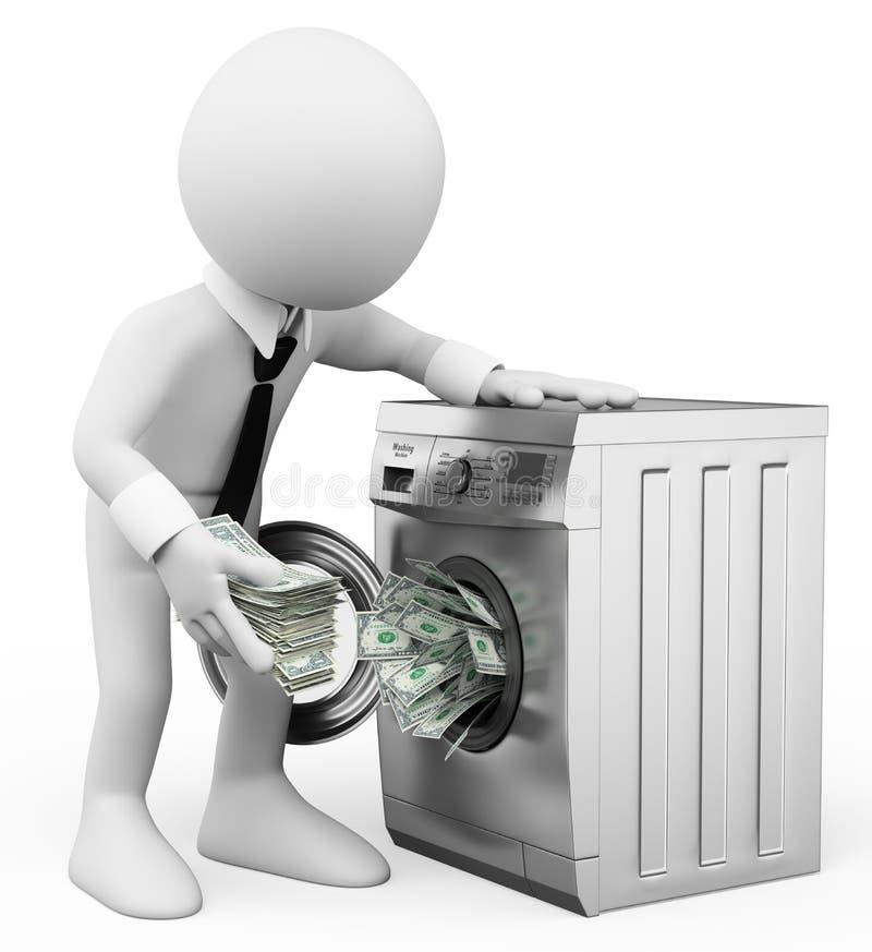 povos do branco 3d Conceito da lavagem de dinheiro Metáfora do negócio ilustração do vetor