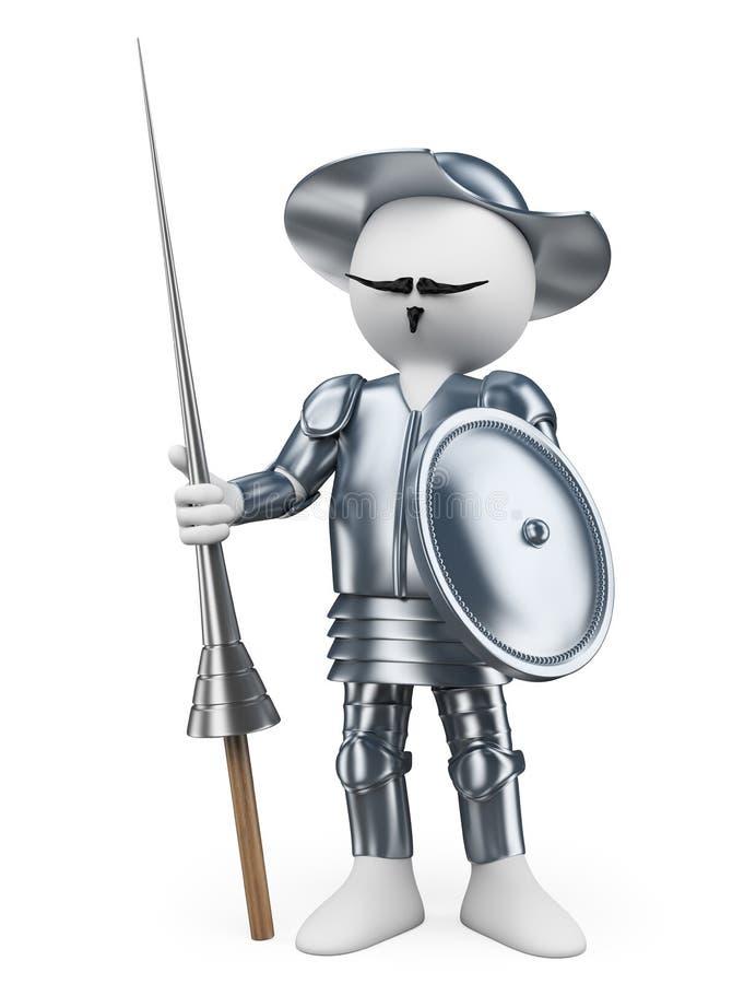 povos do branco 3d Don Quixote do la Mancha ilustração stock