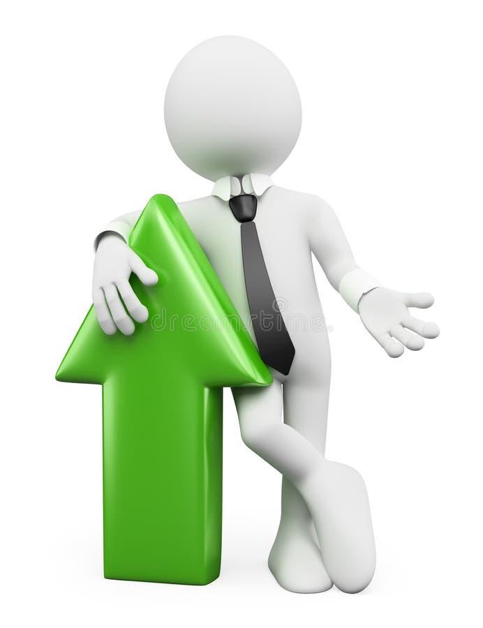 povos do branco 3d Homem de negócios com uma seta verde ilustração do vetor