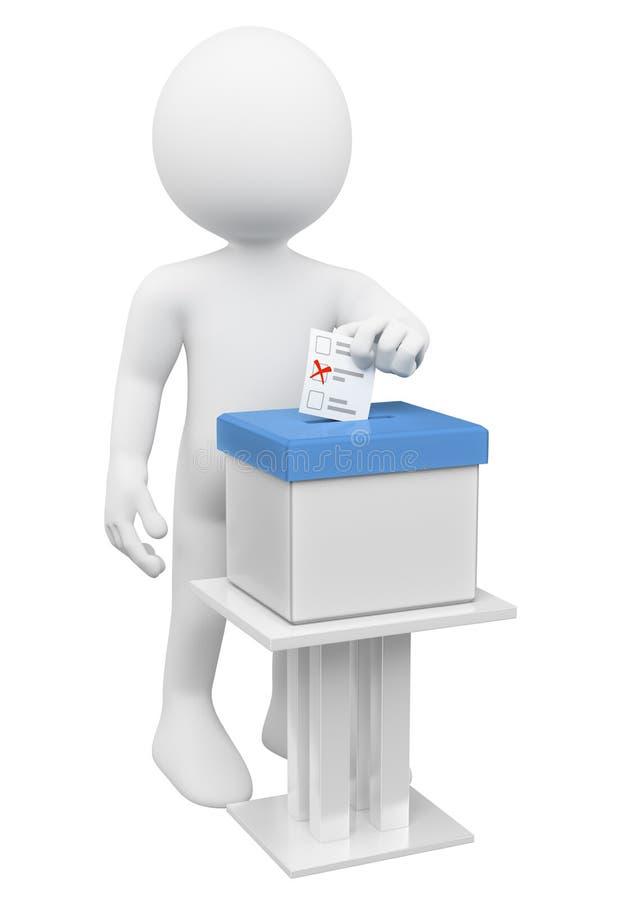 povos do branco 3d Homem que põe sua cédula em uma urna de voto ilustração royalty free
