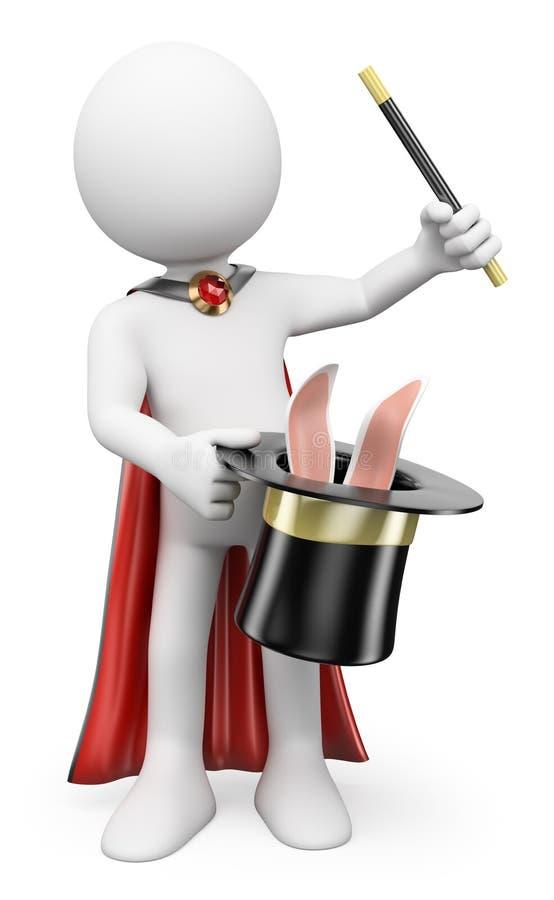 povos do branco 3d Mágico que puxa um coelho fora do chapéu ilustração royalty free