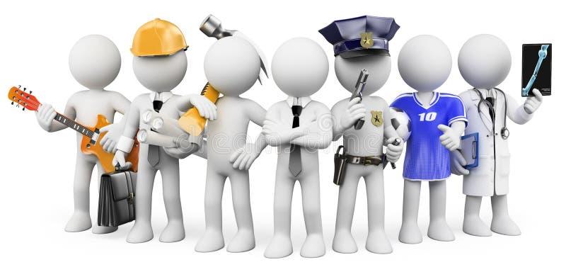 povos do branco 3d Povos que trabalham em profissões diferentes ilustração royalty free