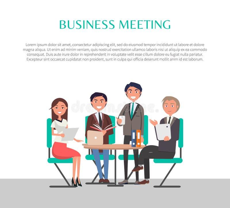 Povos do cartaz da reunião de negócios que sentam-se na tabela ilustração do vetor
