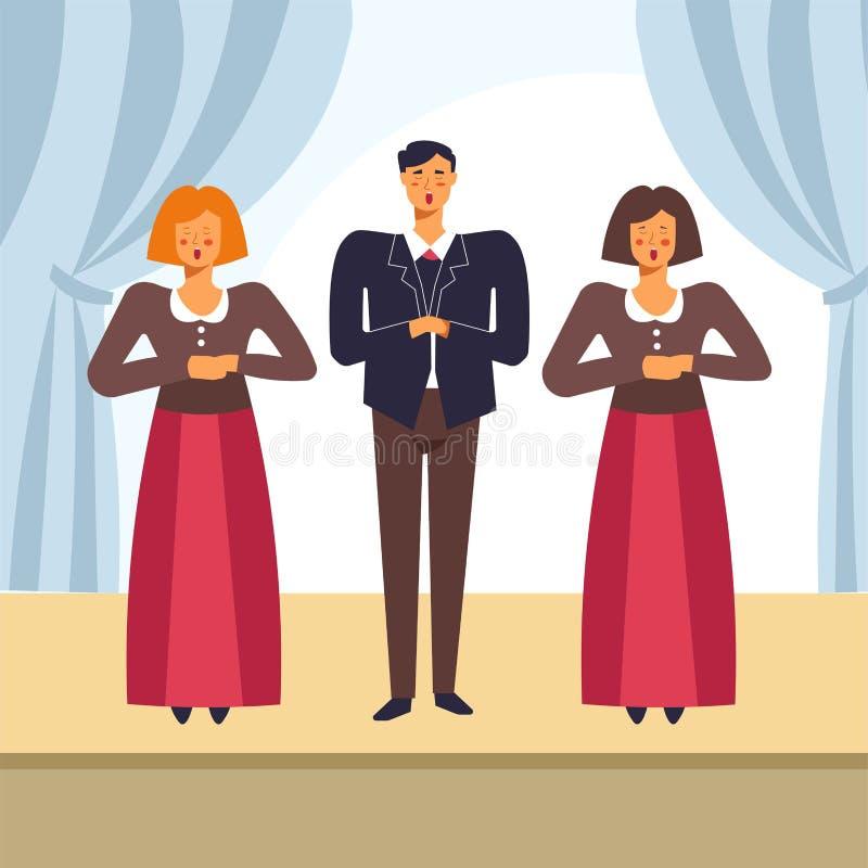 Povos do coro que cantam na fase da ópera do vetor ilustração stock