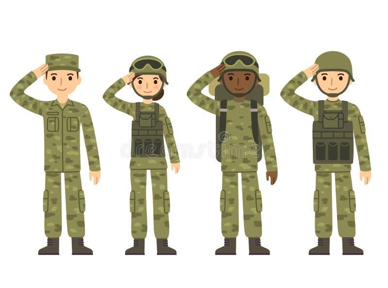 Povos do exército dos desenhos animados ilustração royalty free