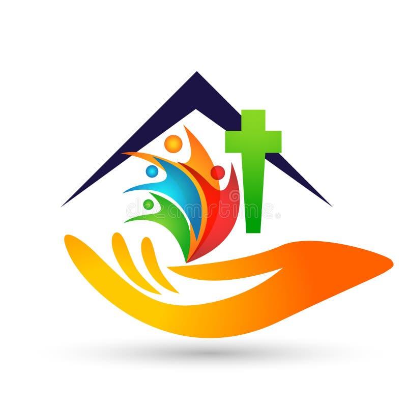 Povos do globo do cuidado da igreja com s?mbolo transversal do amor do ?cone do logotipo da casa da casa da m?o no fundo branco ilustração do vetor