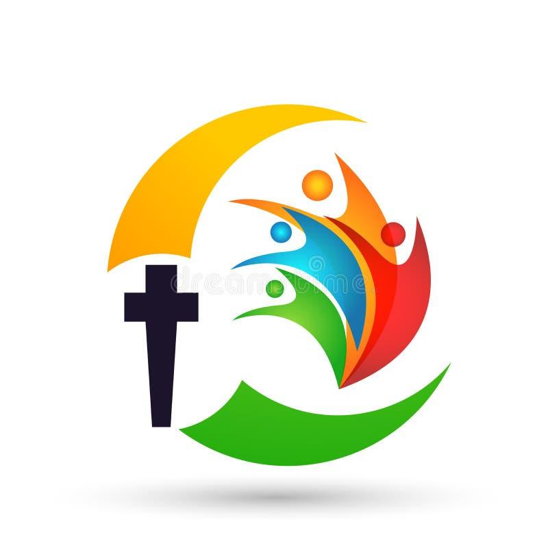 Povos do globo do cuidado da igreja com s?mbolo transversal do amor do ?cone do logotipo da m?o no fundo branco ilustração do vetor