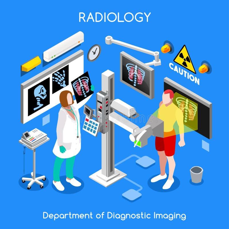Povos do hospital 01 do raio X isométricos ilustração royalty free