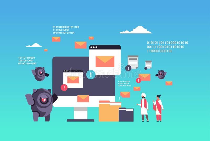 Povos do indiano da inteligência artificial do conceito do spammer do Internet da aplicação informática do robô do ataque do Spam ilustração stock