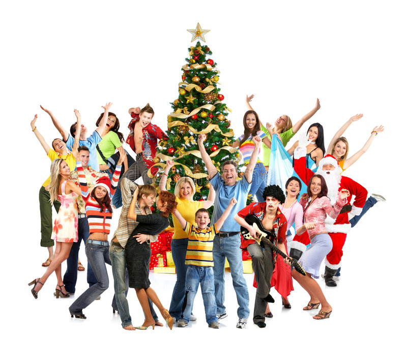 Povos do Natal feliz foto de stock royalty free