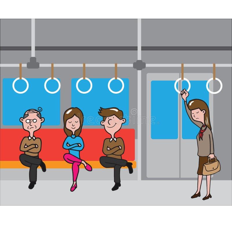 Povos do transporte no metro ilustração royalty free