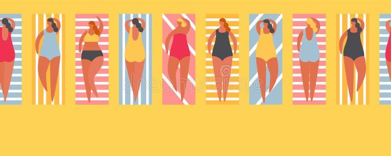 Povos do verão na praia Beira sem emenda da ilustração do vetor ilustração stock