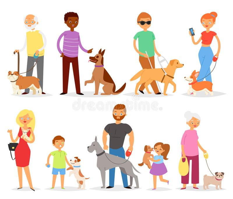 povos do vetor da Cão-criação de animais com o cão-criador do animal de estimação e da mulher ou do homem com grupo doggish da il ilustração royalty free