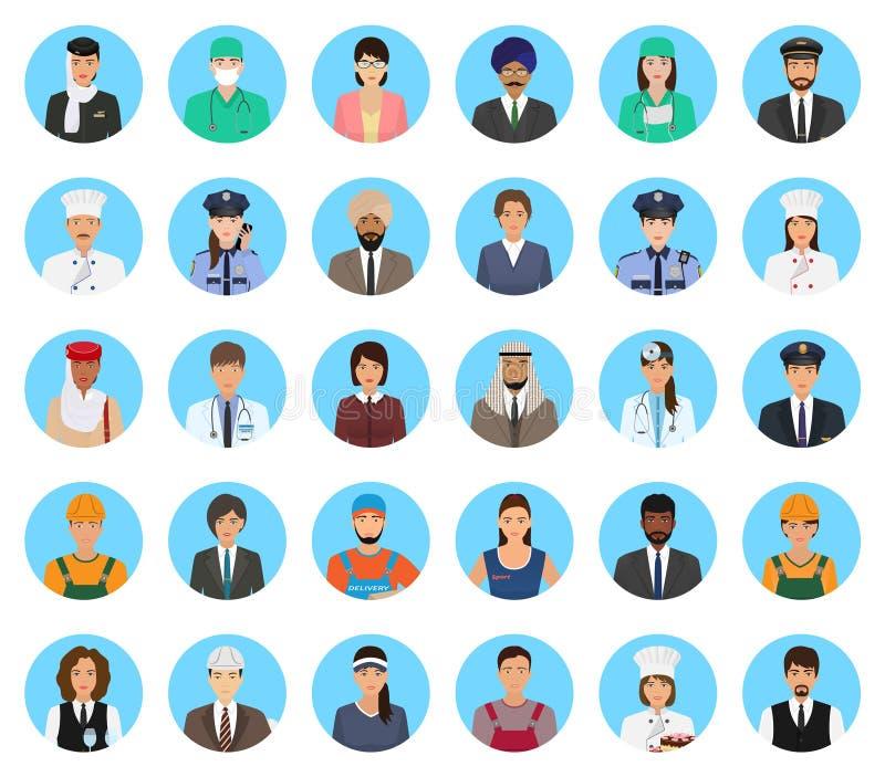 Povos dos caráteres dos Avatars do grupo diferente da ocupação Ícones das pessoas das profissões das caras em um fundo azul ilustração stock
