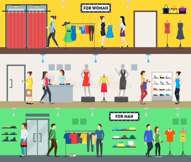 Povos dos caráteres do grupo dos desenhos animados na loja de roupa Vetor ilustração stock