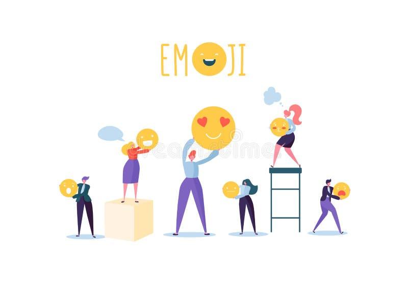 Povos dos caráteres que guardam vários Emoticons Emoji e conceito de uma comunicação dos sorrisos com homem e mulher ilustração stock