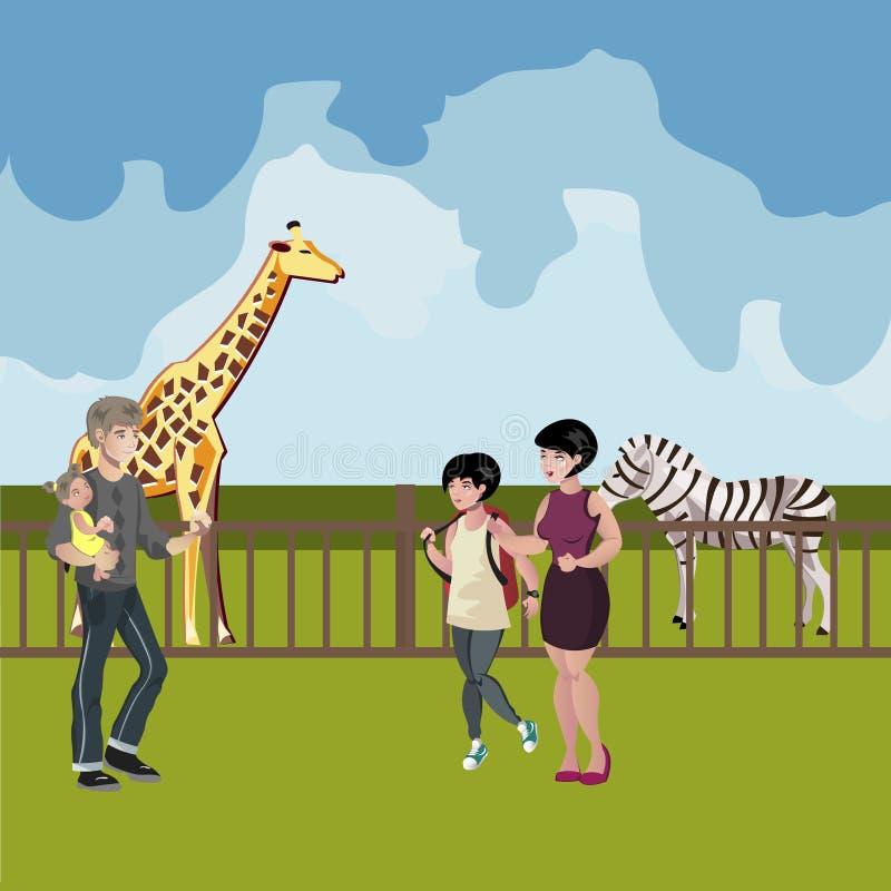 Povos dos desenhos animados do jardim zoológico com cena dos animais ilustração royalty free
