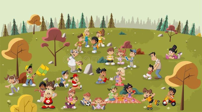 Povos dos desenhos animados no parque ilustração do vetor