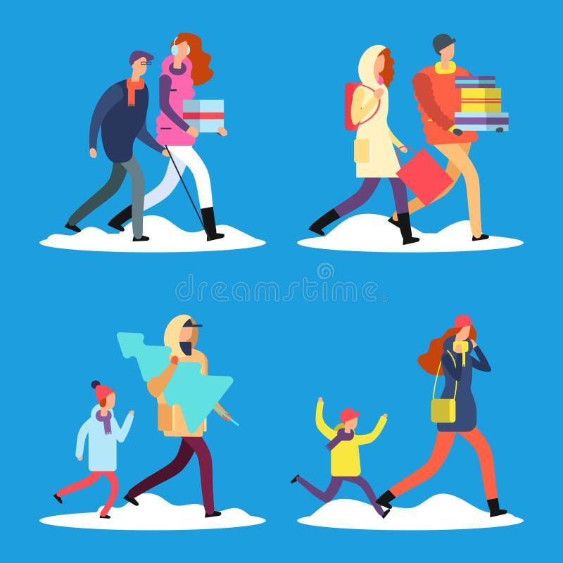 Povos dos desenhos animados que andam na rua da neve do inverno ilustração do vetor