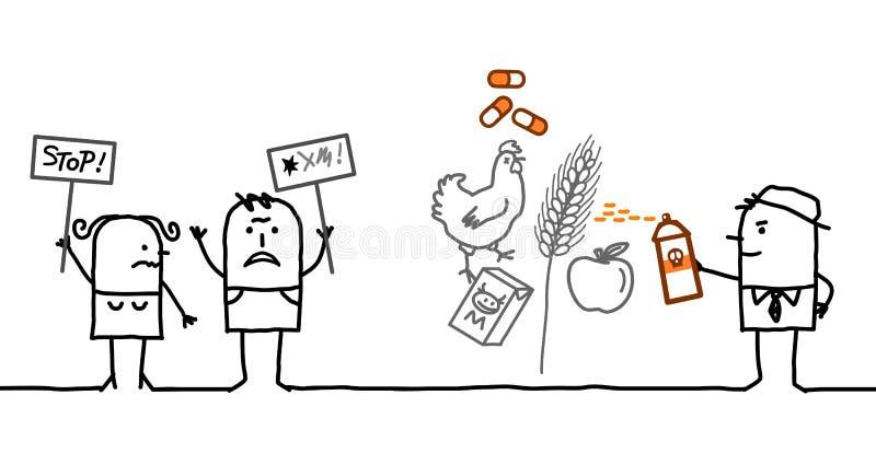 Povos dos desenhos animados que dizem NÃO aos produtos químicos na indústria alimentar ilustração royalty free