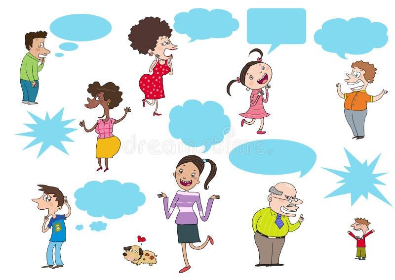 Povos dos desenhos animados que falam, pensando ilustração royalty free
