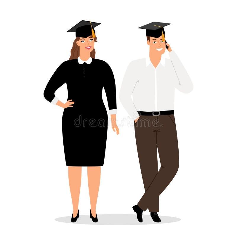Povos dos graduados na ilustração oficial do vetor da roupa ilustração royalty free