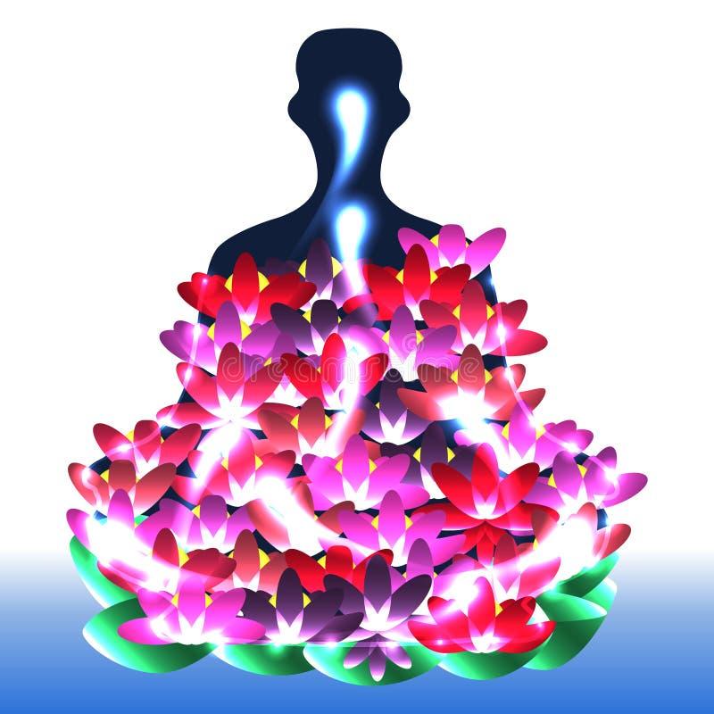Povos dos lótus da ioga brilhantes ilustração stock