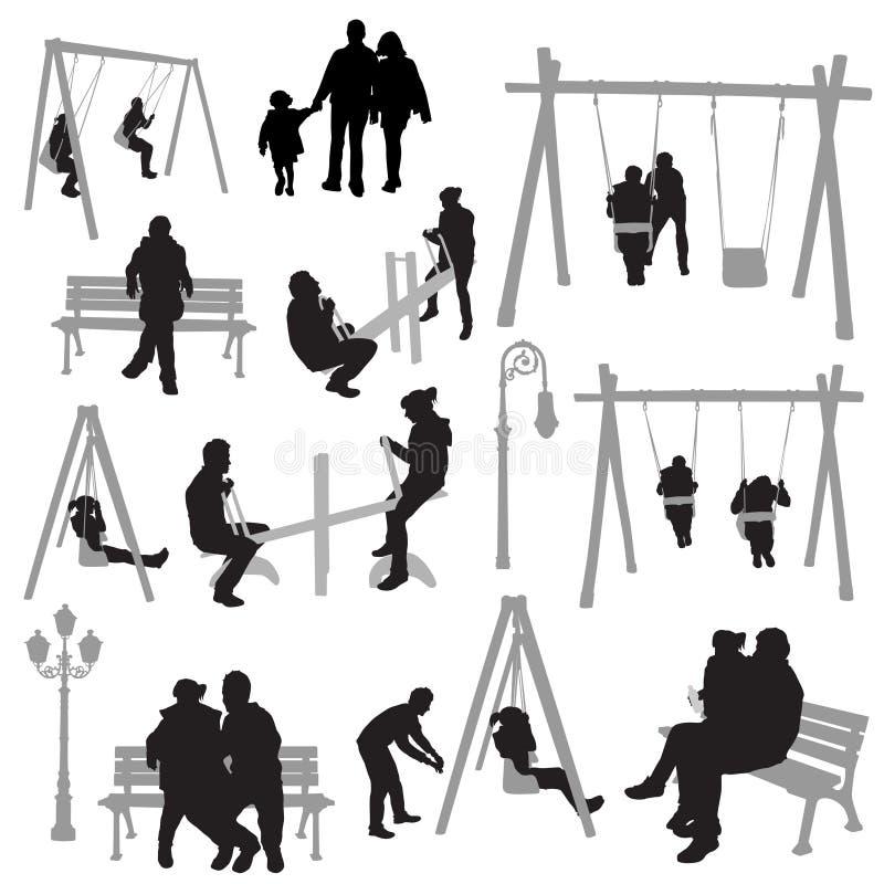 Povos dos pares no vetor do parque ilustração do vetor