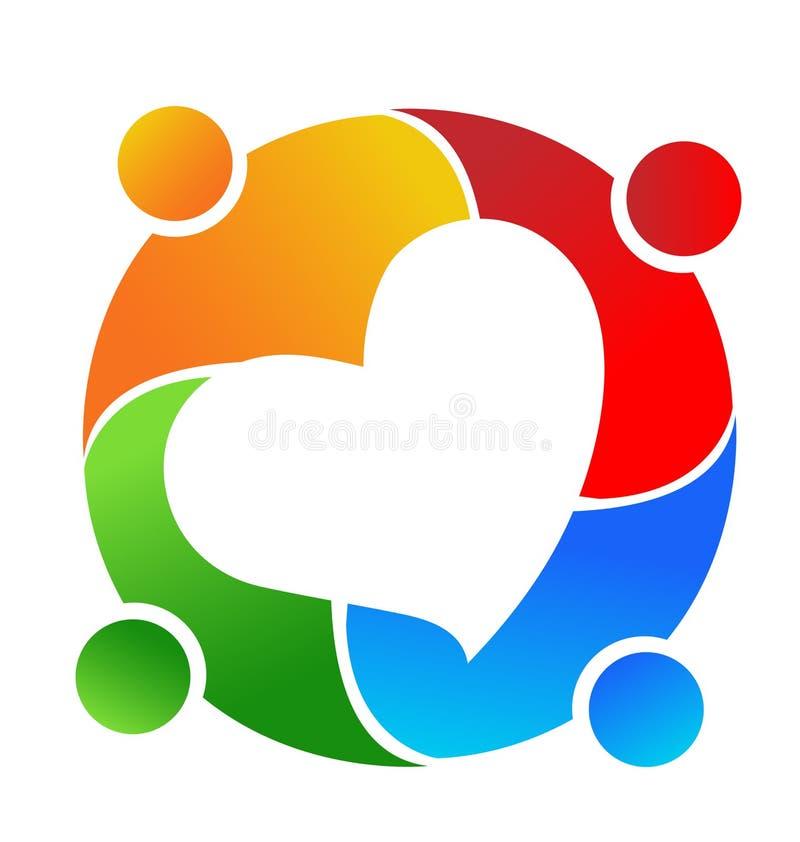 Povos dos trabalhos de equipa da amizade, grupo de apoio, logotipo do vetor do coração fotografia de stock