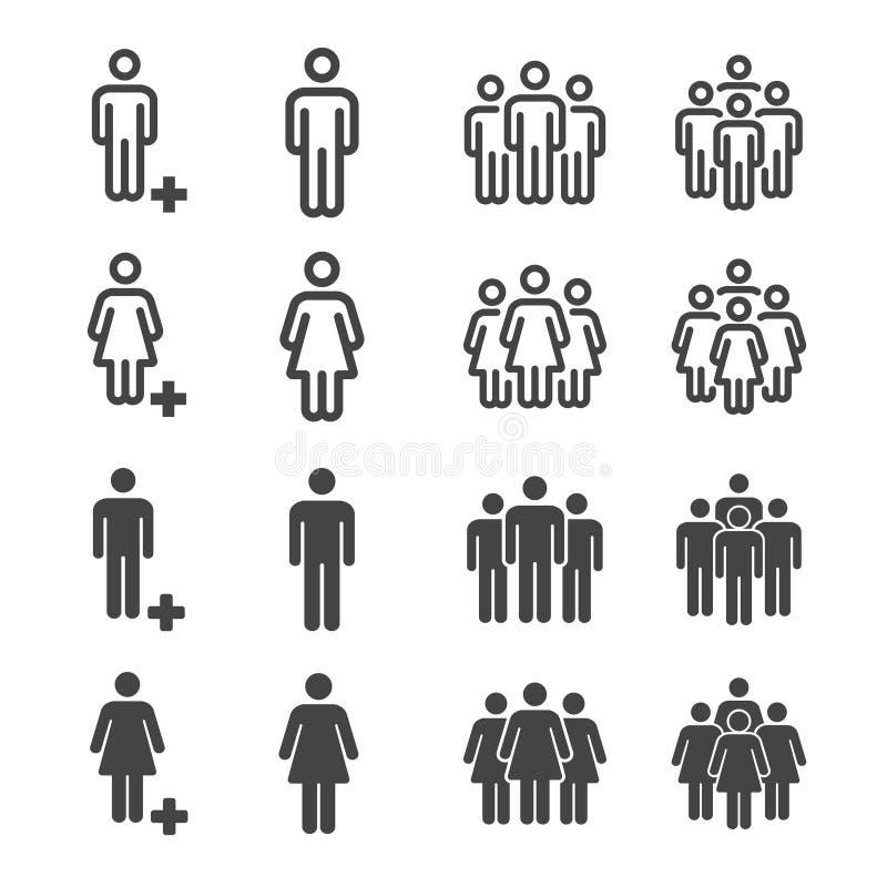 Povos e ícone e ilustração da população ilustração royalty free