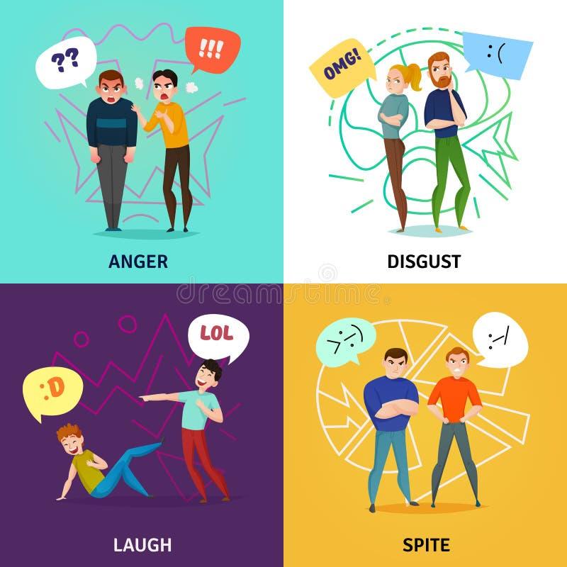 Povos e ícones do conceito das emoções ajustados ilustração stock