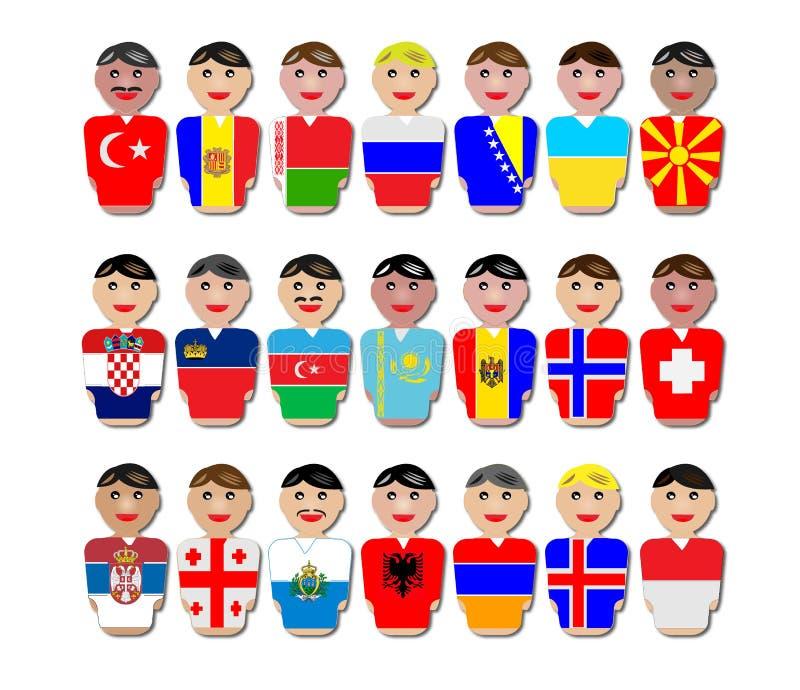 Povos e bandeiras de Europa ilustração royalty free
