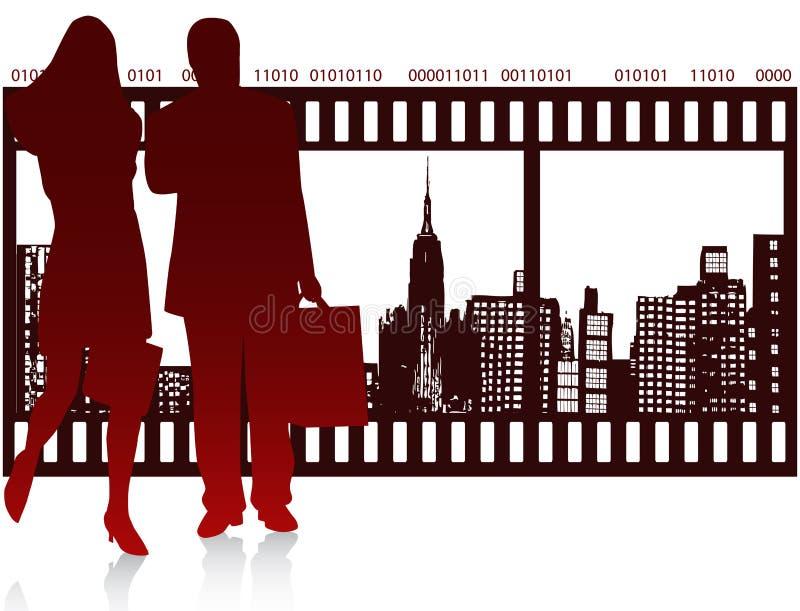 Povos e cidade ilustração stock