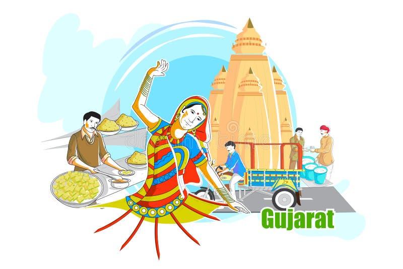 Povos e cultura de Gujarat, Índia ilustração do vetor