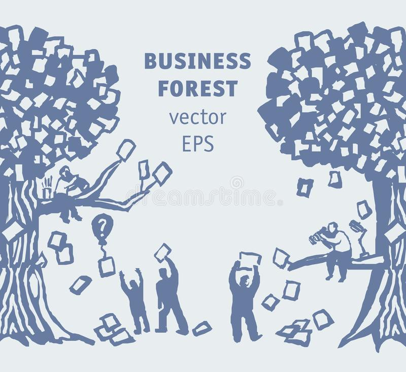 Povos e documentos abstratos da floresta do neg?cio ilustração royalty free