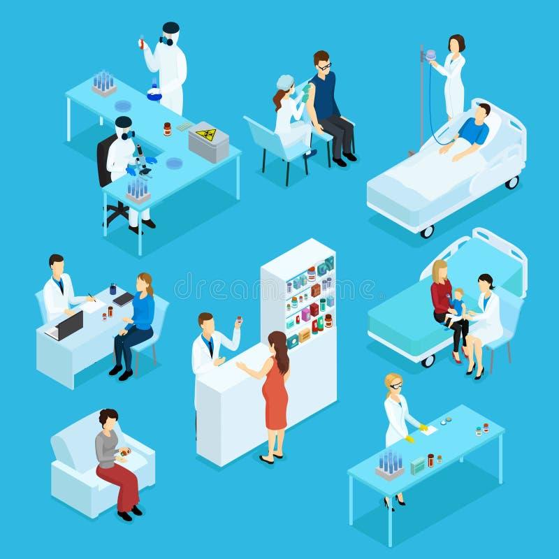 Povos e grupo isométrico dos cuidados médicos ilustração do vetor